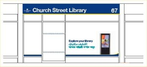 Representation of Church Street Library signage