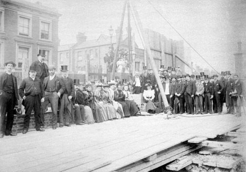 Laying the foundation stone of the Kensal Road Baths, 1896. Image property of Westminster City Archives.