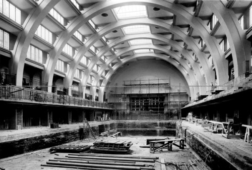 The main swimming pool at the Seymour Place Public Baths under construction, 1936. Image property of Westminster City Archives.