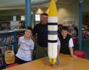 Lego rocket and enthusiasts at Maida Vale Library