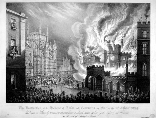 The catastophic fire that consumed the original Palace of Westminster in 1834. Image property of Westminster City Archives.