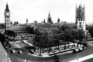 A photograph of Parliament Square, taken in the 1950s. Image property of Westminster City Archives.