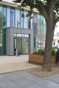 The front entrance to Pimlico Library, Lupus Street