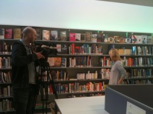 Kate Mosse being filmed for The Politics Show in Pimlico Library