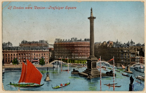 "A comic postcard from 1906: ""If London were Venice - Trafalgar Square"". Image property of Westminster City Archives."