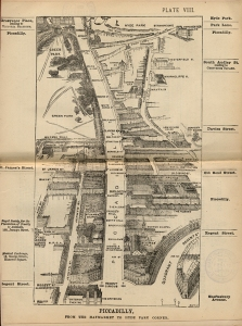 Aerial view map of Piccadilly from Herbert Fry's 'London in 1895' guidebook. Image property of Westminster City Archives.