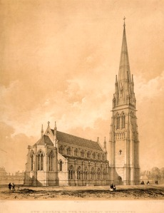 The church that stood on the corner of Victoria Street and Broadway, from 1843 to 1947. Its former graveyard is now Christ Church Gardens. Image property of Westminster City Archives.