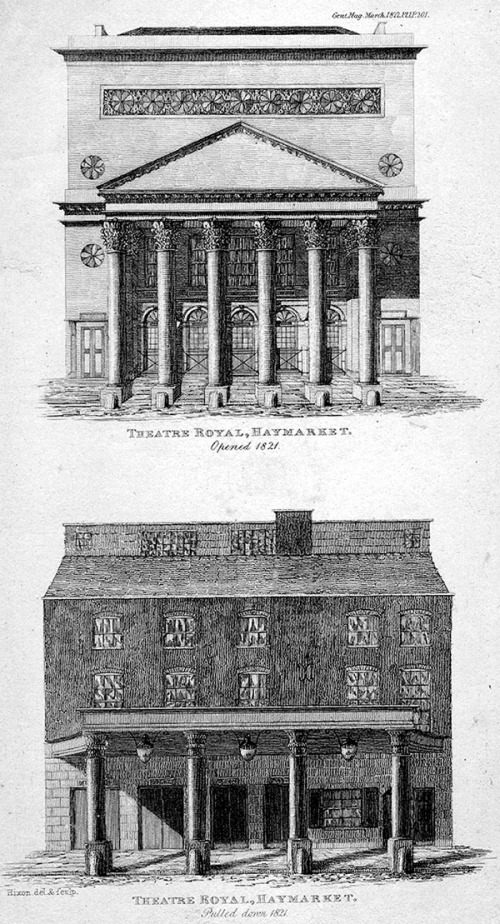 Two views of the old and new Haymarket Theatre, before and after 1821. Image property of Westminster City Archives.