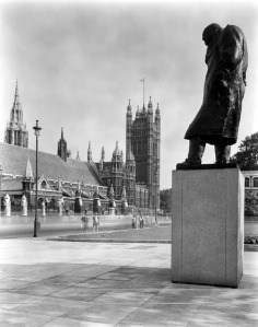 Churchill's presence can be felt in Parliament Square thanks to this atmospheric statue. Image property of City of Westminster Archives.
