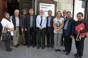 The Malaysian delegation outside Paddington Library