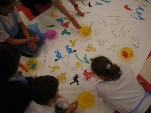 Working on an image at St Barnabas Primary School