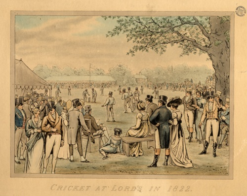 Cricket at Lord's in 1822. Image property of Westminster City Archives.
