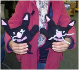 Cats made at a 'Health & Play' event in Paddington Children's Library