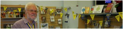 David and his 24/7 Library Gala Day bunting
