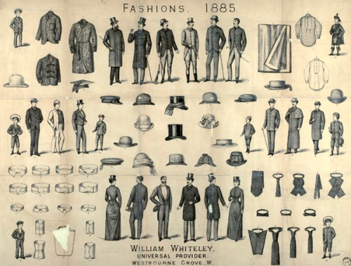 What would you wear? Fashions from William Whiteley's Westbourne Grove store, 1885. Image property of Westminster City Archives.