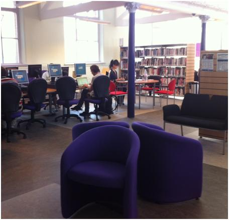 Maida Vale Library: refurbished computer and newspapers area