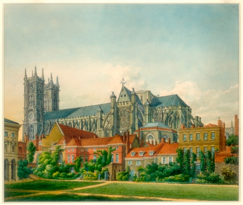 A view of the peaceful surroundings of Westminster Abbey, painted in 1819 by William Capon (Image property of Westminster City Archives)