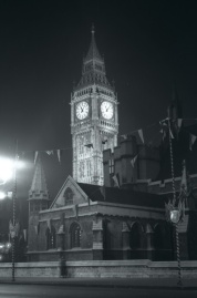 The Clock Tower, Palace of Westminster (Big Ben) by night in 1935. Courtesy of David Weller