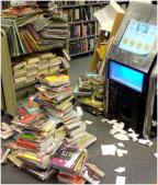 Testing the technology and finding homes for the books, not very long before reopening... eek!