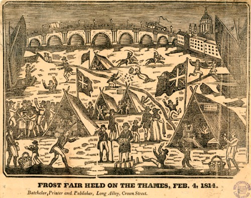 Frost Fair held on the Thames, February 1814 (Image property of Westminster City Archives)