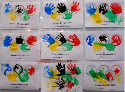 Olympic hand prints at Victoria Library