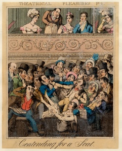 'Contending for a seat': a cartoon depicting theatregoers arguing over seats in the stalls (1821). Image property of Westminster City Archives.