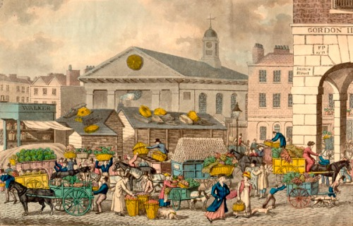 Covent Garden market in the early 19th century. Image property of Westminster City Archives.