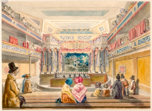 Interior view of the New Queen's Theatre, Piccadilly, in 1834. Image property of Westminster City Archives.