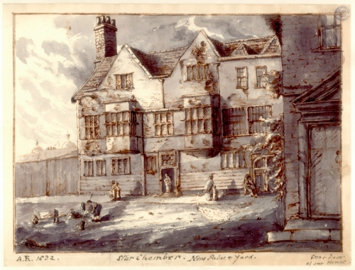 View of the Star Chamber in New Palace Yard, painted by Anne Rickman. The Star Chamber was demolished as part of Barry's redevelopment of the Palace. Image property of Westminster City Archives.