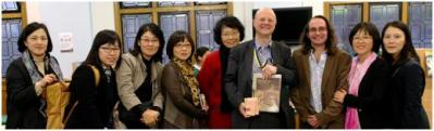 Laurence, Nick and the South Korean delegation from NLCY, December 2012