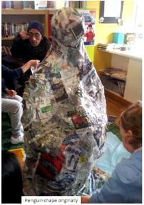 Papier Mache Penguin in progress - St John's Wood Library, February 2013