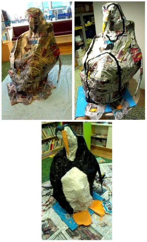 Papier Mache Penguin Extravaganza at St John's Wood Library, February 2013