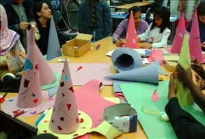 Making wizard hats at Maida Vale Library, Feb 2013