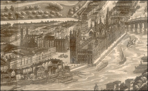 A Cosmoramic View of London [section], 1843. Image property of Westminster City Archives.