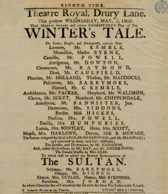Playbill for the play in which Sarah Siddons, Charles Kemble and Roger Kemble all performed at Drury Theatre in 1802. Image property of Westminster City Archives.