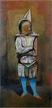 Clown - oil paint on canvas - by Mervyn Peake, 1950s