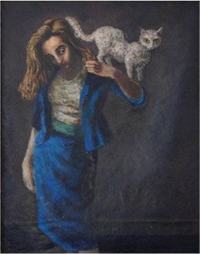 Maeve in Blue with Cat by Mervyn Peake - oil on canvas - 1940s