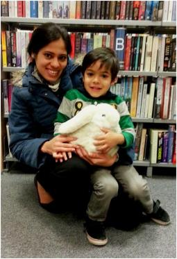 Rushil, mum and a very happy bunny at Maida Vale Library, april 2013