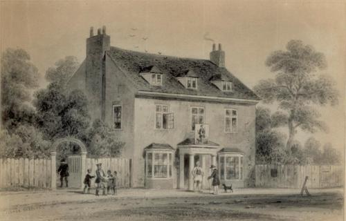 View of the Farthing Pie House in 1724 by Thomas Hosmer Shepherd.  Image property of Westminster City Archives.