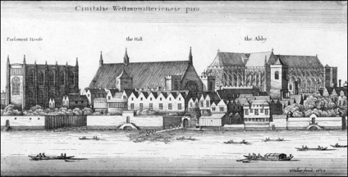 View of the Palace of Westminster, Westminster Hall and Westminster Abbey from the River Thames, 1647. Image property of Westminster City Archives.