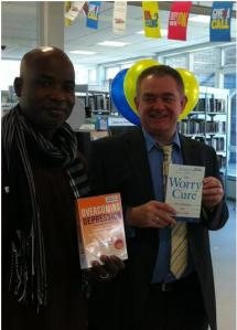 Baffour from Mind and Chris from Triborough Libraries at the Books on Prescription launch in Church Street Library, June 2013