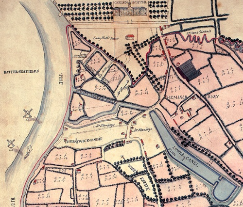 Manor of Ebury map 1723. Image property of Westminster City Archives