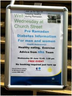 Pre-Ramadan diabetes advice at Church Street Library, June 2013