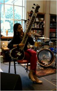Shama Rahman plays sitar at Telemachus gig, Westminster Reference Library, May 2013