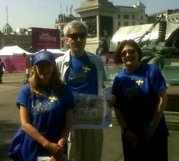 Weswtminster Librarians promote Creepy House at the 'Get Reading' festival in Trafalgar Square