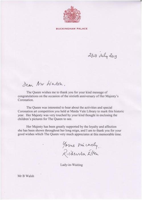 Letter from the Queen to Maida Vale Library,  23 July 2013