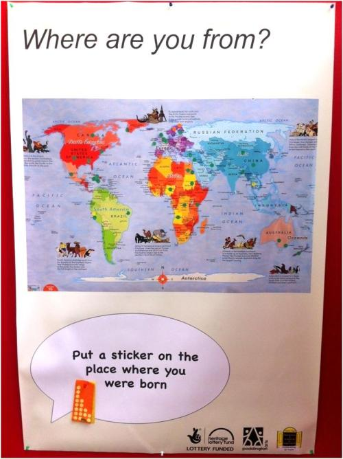 'Where are you from?' world map at Queen's Park Library, July 2013