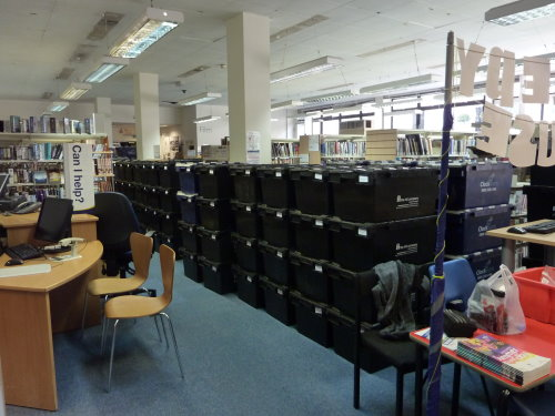 Crates in Marylebone Library, August 2013