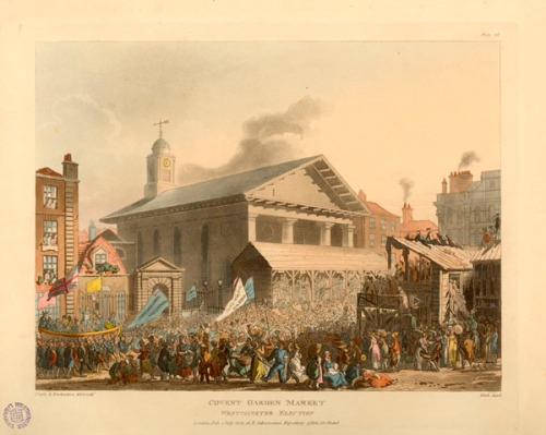 The new St Paul's, just 10 years after it was consecrated, pictured during the Westminster Election in Covent Garden (1808). Image property of Westminster City Archives