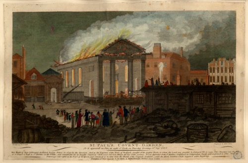 St Paul's Church burns, 17 September 1795. Image property of Westminster City Archives